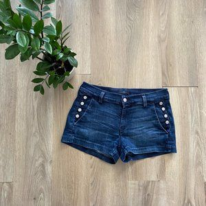 7 For All Mankind Blue Button Decal Denim Shorts